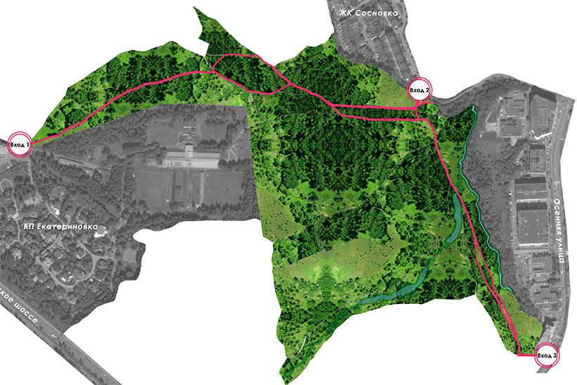 Схема размещения экотропы в Крылатском лесу