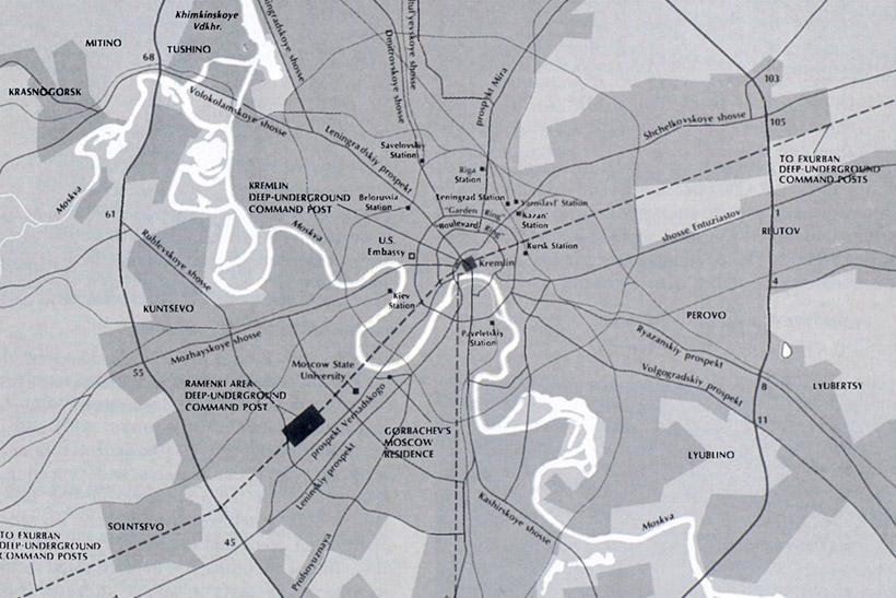 Фрагмент карты с Метро-2 из ежегодного издания Министерства Обороны США за 1991 год