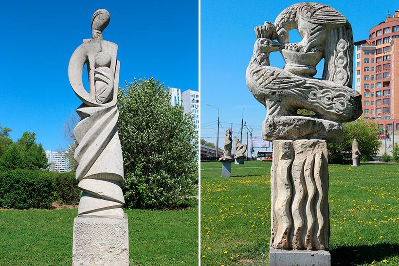 Скульптуры «Материнство» и «Райские птицы»