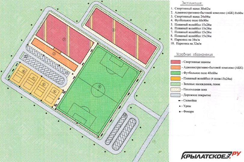 Схема благоустройства из предварительного проекта «Спортивный кластер в Крылатском»